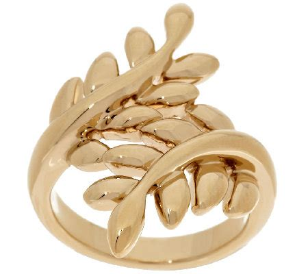 gold leaf design 14k gold polished leaf design bypass ring qvc