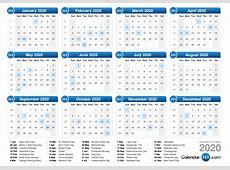 2020 Calendar With Holidays – printable weekly calendar