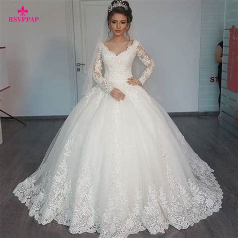 robe de mariage arabe gorgeous sheer gown wedding dresses 2016 lace beaded applique white sleeve arab