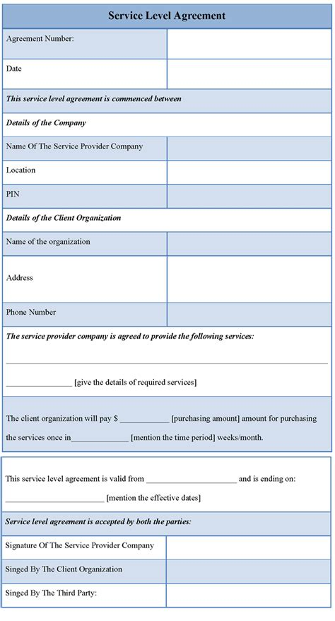 template  service level agreement  template