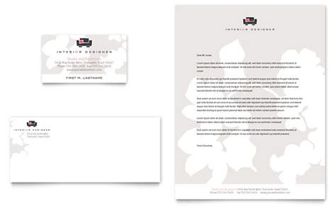 interior designer business card letterhead template design