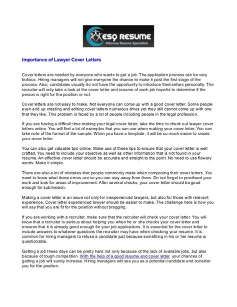 how important is a cover letter importance of lawyer cover letters1 2 33177