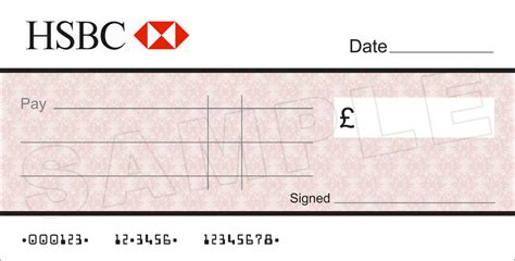 large blank hsbc bank cheque  charity