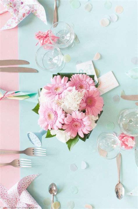deco pastel bapteme fille bouquet de fleur centre de table