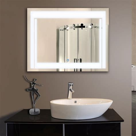 Led Lights Bathroom Mirror by 36 X 28 In Horizontal Led Bathroom Silvered Mirror With