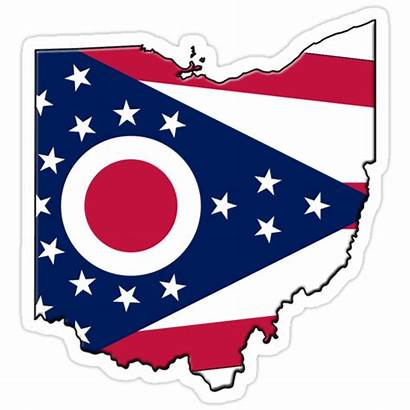 Ohio Flag State Outline Redbubble Sticker Stickers