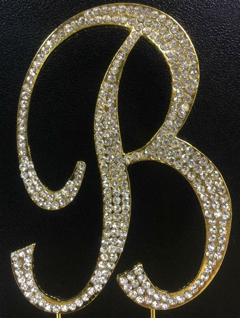 gold plated rhinestone monogram letter  wedding cake topper   high ebay