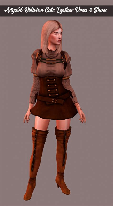 oblivion cute leather outfit  astya sims  updates