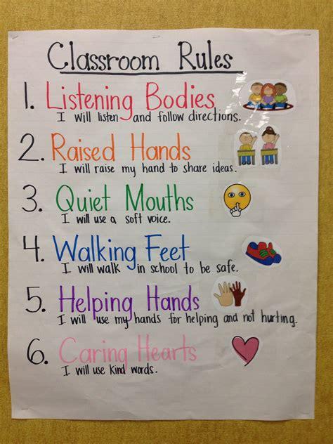 kindergarten   grade classroom rules anchor chart