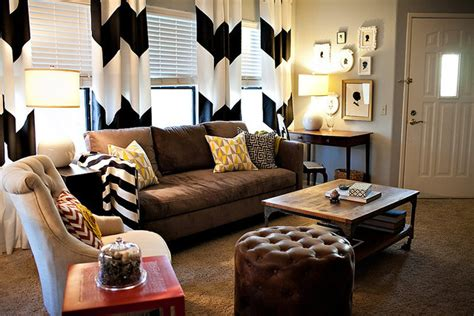 Gray Chevron Curtains Living Room by Chevron Curtains In An Eclectic Living Room Eclectic