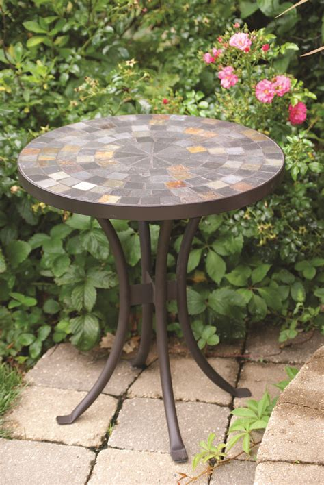18 quot slate mosaic accent table for decks patios and gardens