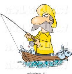 Cartoon Fisherman Fishing Boat