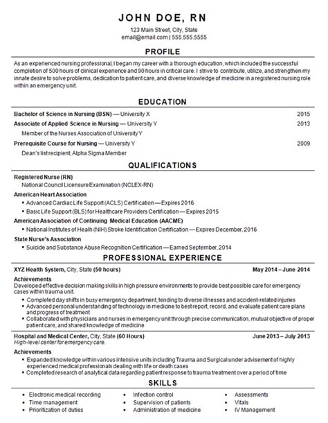 Experienced Rn Resume by Registered Resume Exle Entry Level