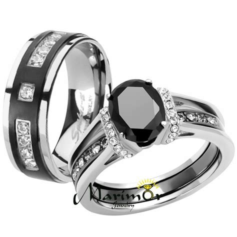 his black cz stainless steel wedding engagement ring titanium band ebay