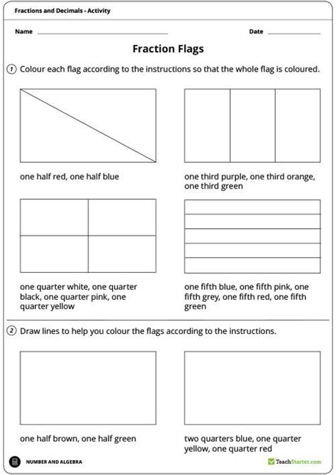 fraction flags worksheet teaching resource fractions