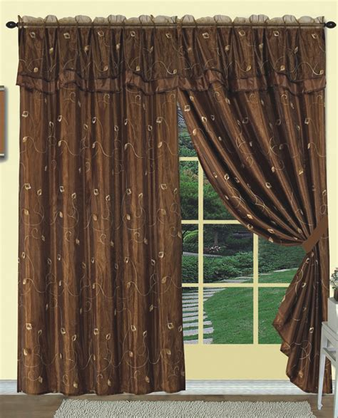 dorothy embroidery curtain panel brown luxury home