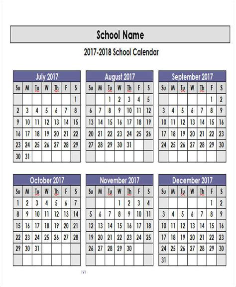 academic calendar template 5 academic calendar templates free sle exle format sle templates