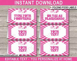 rockstar party food labels place cards rock star theme With food labels for party template