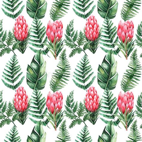 Watercolor Floral Tropical Seamless Pattern Stock