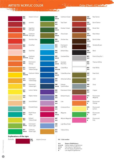 acrylic paint colors shinhan acrylic paint color chart media