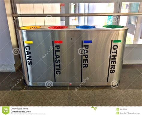 grey and yellow throw modern recycle bins stock photo image 55145944