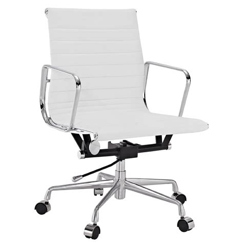 mid back desk chair amazon com lexmod ribbed mid back office chair in white