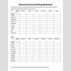Chemical Formula Writing Worksheet With Answers