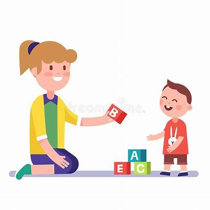 Teacher Teaching Child Mother Illustration Vector Alphabet