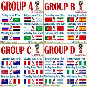 World Cup 2018 Group Stage  U2013 Seoul  Kst Kick Off Times