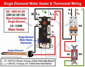 How To Wire Single Element Water Heater And Thermostat  En