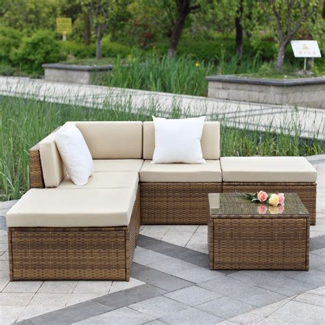 Brown Ikayaa 6pcs Outdoor Patio Sectional Rattan Wicker