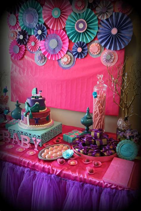 pink purple turquoise   girl baby shower party ideas