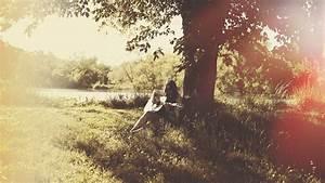 Girl play guitar, music, summer, trees, sunshine wallpaper ...