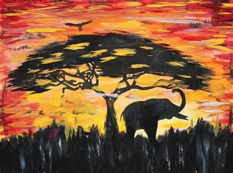 elephant silhouette sunset painting elephant silhouette sunset original painting