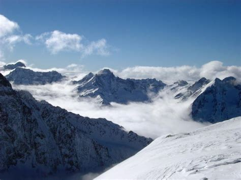 stock photo  snow covered mountain peaks  france