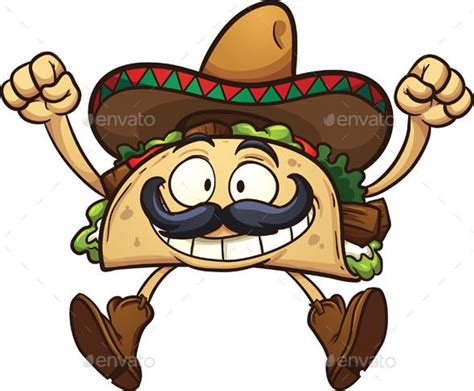 Cartoon, Tacos And Happy