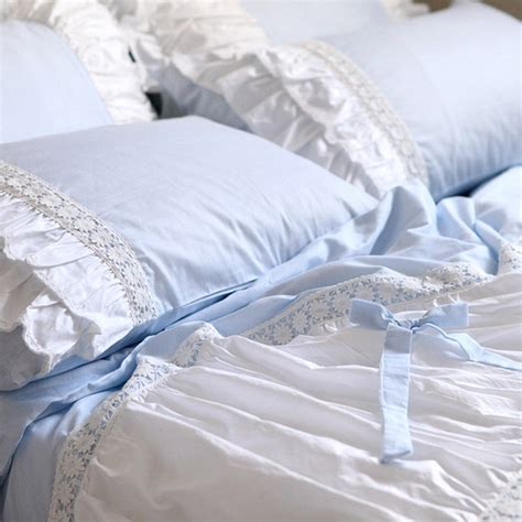 sky blue ruffle anywhere chair lace bedding set