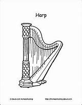 Harp Coloring Musical Digital Celtic Stamp Terms Basic Pages Printouts Learn Basics sketch template