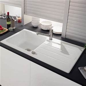Evier monobac vier monocuve bac sans gouttoir cm with for Salle de bain design avec evier ceramique 1 bac