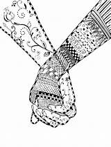 Coloring Pages Hands Holding Couple Zentangle Adult Illustration Hand Printable Print Vector Fantasy Advanced Swirl Adults Flower Teenagers Pencil Couples sketch template