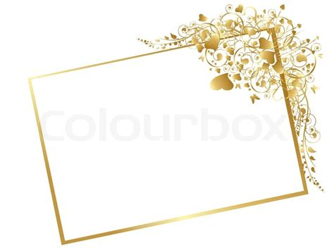 illustration  floral golden frame  swirls butterfly