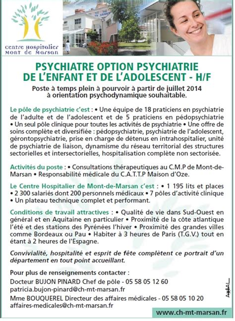 offre emploi mont de marsan sant 233 mentale le centre hospitalier de mont de marsan recrute un psychiatre option psychiatrie