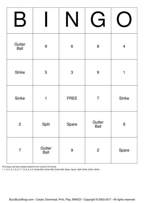 walton holiday bowling party  bingo cards