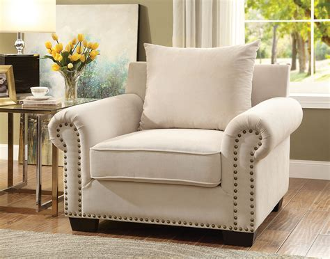 Skyler Transitional Style Ivory Nailhead Trim & Rolled