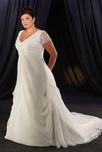 Short sleeve plus size wedding dresses for Plus size short wedding dresses with sleeves