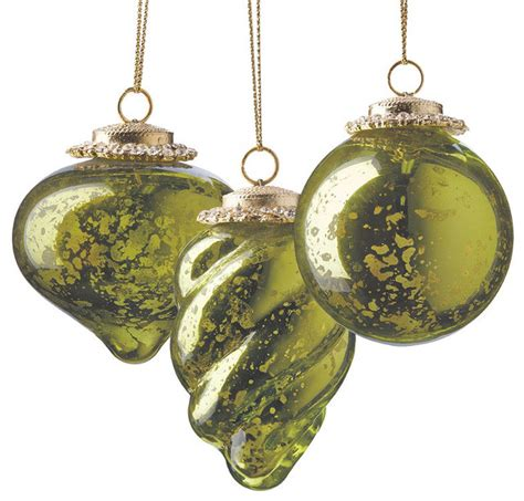 set of six green mini antique christmas ornaments