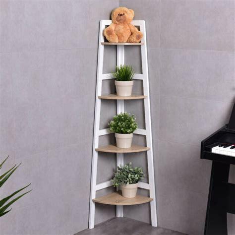 Wood Corner Bookshelf by 4 Tier Wood Corner Bookcase Ladder Shelf Wall Unit
