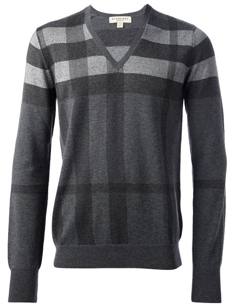 mens burberry sweater burberry check sweater in gray for grey lyst