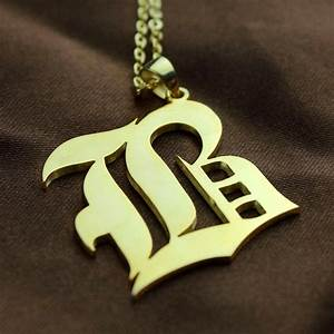 custom mens initial letter charm old english 18ct gold plated With old english letter charms