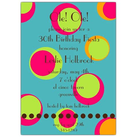 funky fiesta dots birthday invitations paperstyle